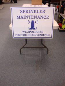 Sprinkler Maintenance Sign